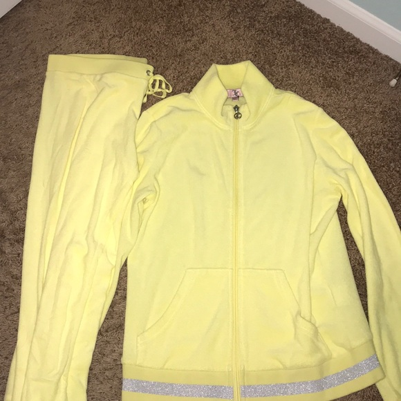 Juicy Couture Pants Jumpsuits Yellow Tracksuit Poshmark